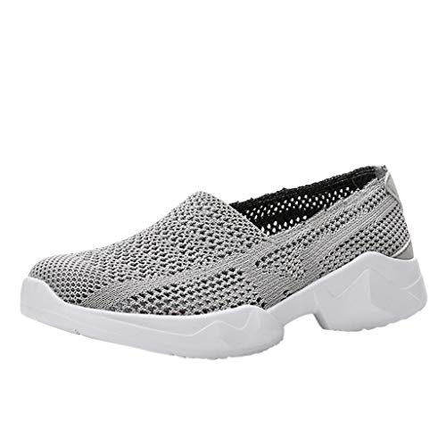 (Bralonees Breathable Hollow Mesh Shoes for Couples Lightweight Casual with Soft Bottom Unisex Flat Comfortable Running Grey)
