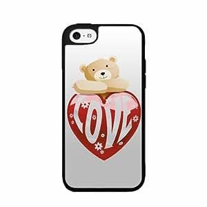 Love Cute Bear - Plastic Phone Case Back Cover (iPhone 5c Black)