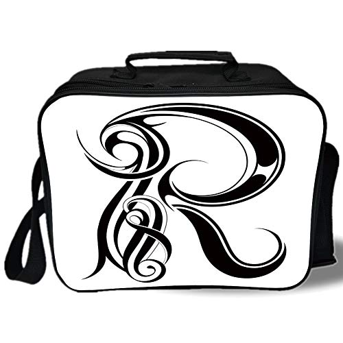 Letter R 3D Print Insulated Lunch Bag,Gothic Medieval Inspired Alphabet Font Capital R Calligraphic Design Illustration,for Work/School/Picnic,Black White