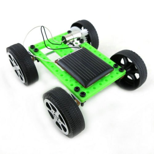 Peach - Mini Solar Powered Car - DIY Car Kit Assemble Toy Set Science Educational Kit Educational IQ Gadget Hobby Funny Assembly Robot Vehicle