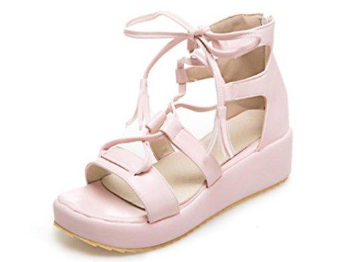 De Plano Toe Bottom PU Sandalias Gruesas pink NVLXIE Bottom Tres Correa 5cm Chicas Compras Verano Dew Mujer Colores wPCqCxR0