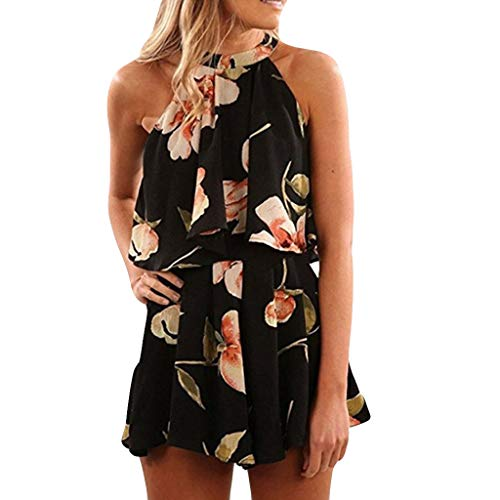 Newlyblouw Women's Fashion Print Dress,Ladies Summer Sleeveless Halter Chiffon Camisole Sling Slim Jumpsuit Party Dress Black