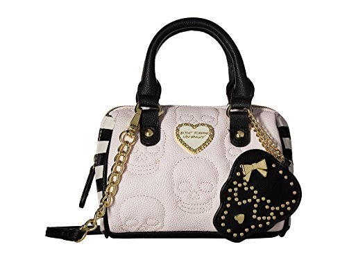 Betsey Johnson Mini Head First Skull Satchel Crossbody Bag - Grey Multi Stripe