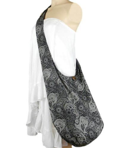 BTP Messenger Print Sling Hippie Cotton Hobo Bag Black Large Crossbody Paisley Pl3 Thai Purse rnv0qxr