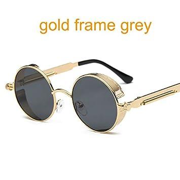 Aprigy Gótico Steampunk Gafas de sol redondas de metal para ...