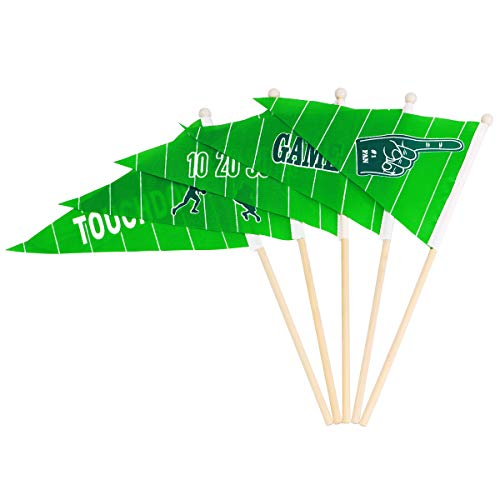 LUOEM 30PCS Football Stick Flags Mini Hand Held Football Suit for Sports Events Festival - 10 Inch Football Mini