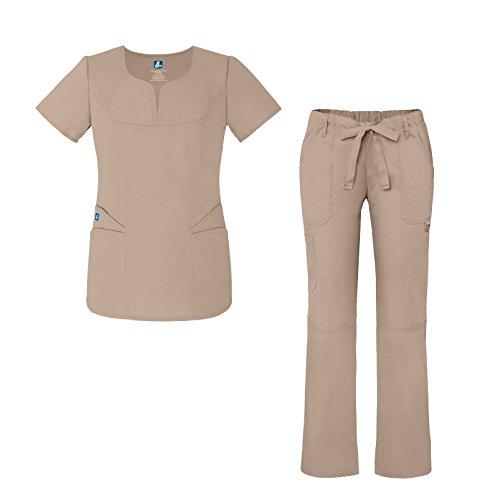 Universal Women's Scrub Set – Fashion Scrub Top and Multi-Pocket Scrub Pants - 903 - Khaki - XL