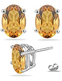 1.25 Cts Citrine Stud Earrings in Platinum