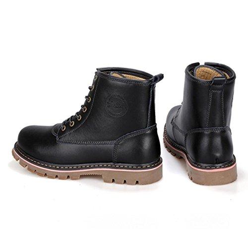 Herren Martin Stiefel Aus Echtem Leder Casual Retro Road Footwear Trekking Schuhe Black