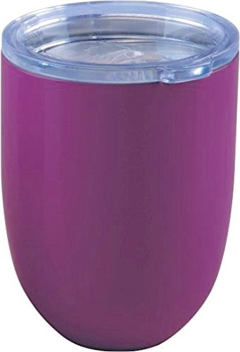 ICICLE 10oz Double Wall Vacuum Insulated Stemless Stainless Steel Lowball Wine Glass Tumbler with Spill Proof & Slide Lock Lid – BPA Free (1, Purple)