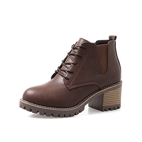 FUFU Damenschuhe PU Herbst Reiten Stiefel für Casual Schwarz Braun Grau Rot 2.17in 5.5cm Braun
