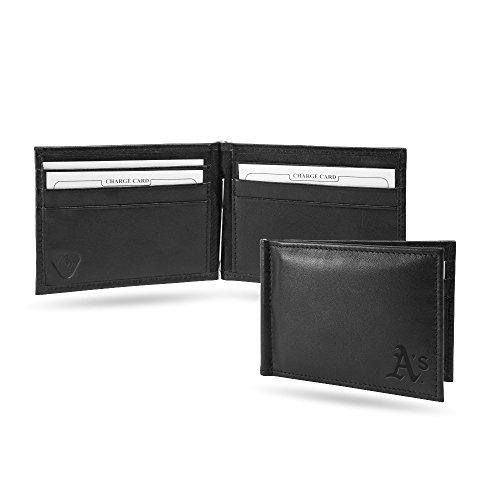 (Oakland Athletics RFID Blocking Shield Black Leather Moneyclip Wallet)