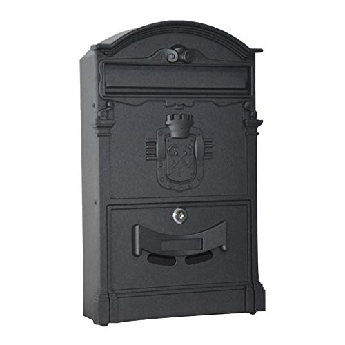 Post Box, Mailbox, Letter Box, Galvanized Steel Waterproof Design Postbox, with Slim Line and Newspaper Slot, Wall Mounted, Lockable (Color : Black)