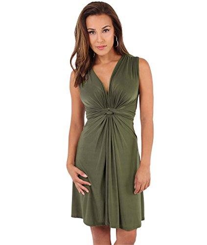 KRISP Vestido Corto Mujer Verano Vuelo Casual Talla Grande Joven Caqui (9354)