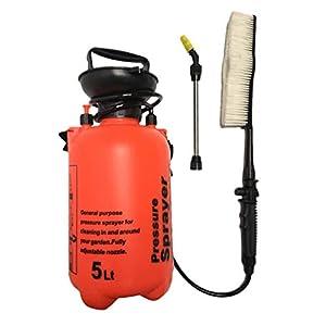 5L Manual Pressure Power Washer Hand Pump Sprayer Brush Car, Bicycle & Motorbike Wash – Orange, as described
