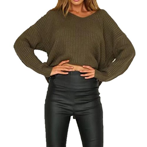 Backless Bandage Sweater Kinghard Women Casual Long Sleeve Sweaters Knitted Sweaters Backless Bandage Sweaters Tops Blouse Autumn,Winter Sweaters Casual,Daily Sweaters (Army Green)