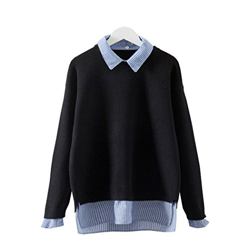 (Gi.amagi Turn-Down Collar Women Sweater Winter Shirt Sweater Fake Two Pieces Comfort Knitted Pullover (Black, M))