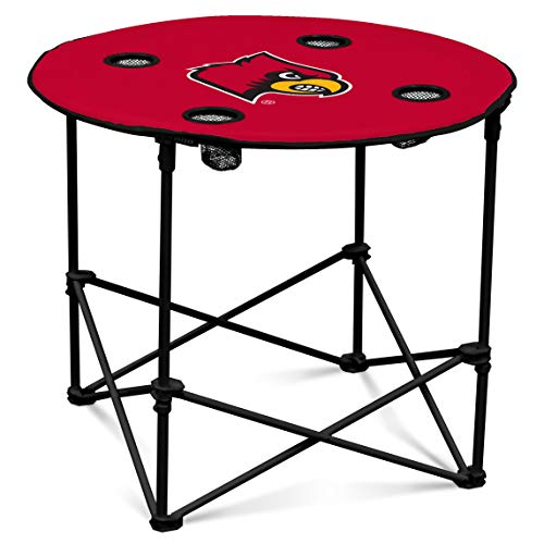 Louisville Cardinals Collapsible Round Table with 4 Cup Holders and Carry Bag Cardinals Ncaa Logo Tailgate