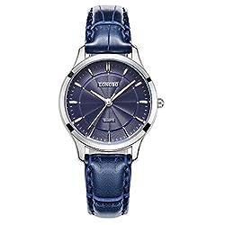 LONGBO Luxury Women's Blue Croco Leather Band Analog Quartz Business Watch Silver Case Couple Dress Watch Waterproof Silver Hands & Blue Dial Wristwatch For Lady