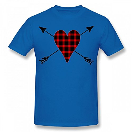 DLNCTD Buffalo Plaid Heart Trendy Tshirt Cool Print T-Shirts Valentine Day Man Tee Royal Blue