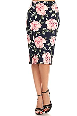 Misha Fashion Women's Knee Length Pencil Skirt for Office Wear - Made in USA