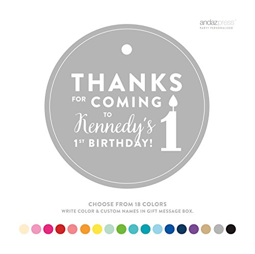 Andaz Press Personalized Circle Birthday Gift Tags, Thanks for Coming to My 1st Birthday, 24-Pack - Custom Made Any Name, Color (Thanks Message For Coming To Birthday Party)