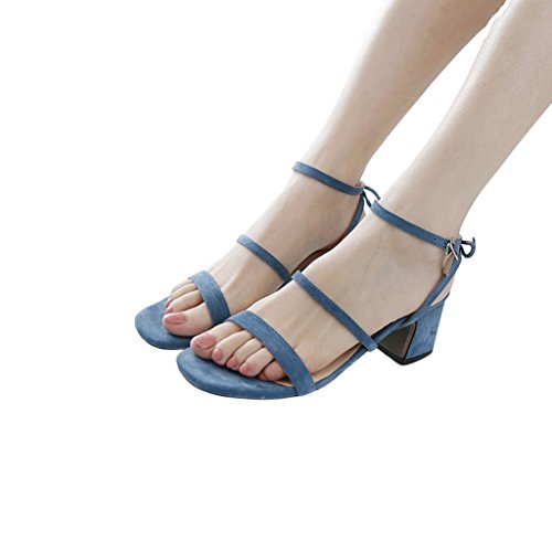 Strap Elegant 37 Blue Ankle Sandals Sheepskin Heels Fashion High Bowknot Size Color Women's qngWA1t7t