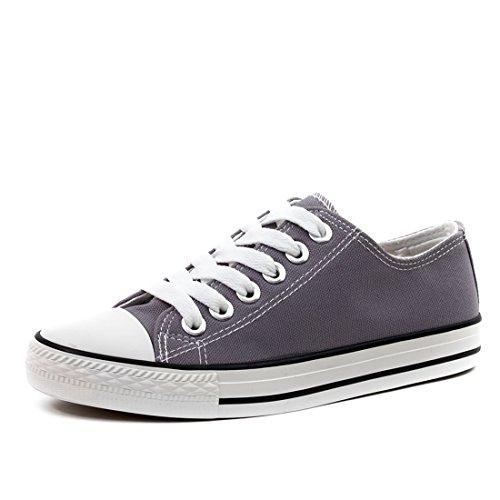 Mode Enfants Unisexe Hommes Lacent Chaussures De Sport Basse En Toile Haut Textile Gris Fonc