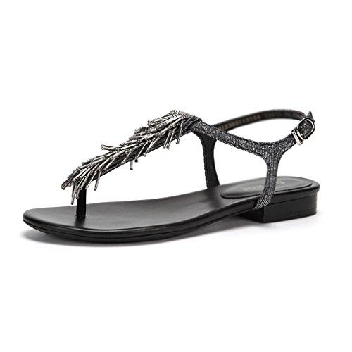 Pure Sandali type Confortevoli Colore Casual dimensioni Tin Fondo Con Black Piatto jeans ZCJB Color Summer Color E T Feet Clamping 36 With PFSxqZY58w