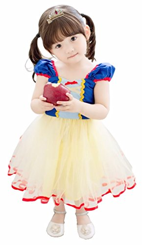 Snow White Dresses For Toddlers (Cohaco Girl's Princess Baby Snow White Style Costume Party Dress with Tiara Clip (3T - 4T))