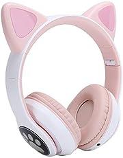 Leuke Kattenoor-koptelefoon voor Meisjes, Draadloze Bluetooth 5.0-koptelefoon met Hoofdband met LED-lampje, Ondersteuning voor Volumeregelingsfunctie voor Geheugenkaart, Cadeau(roos)