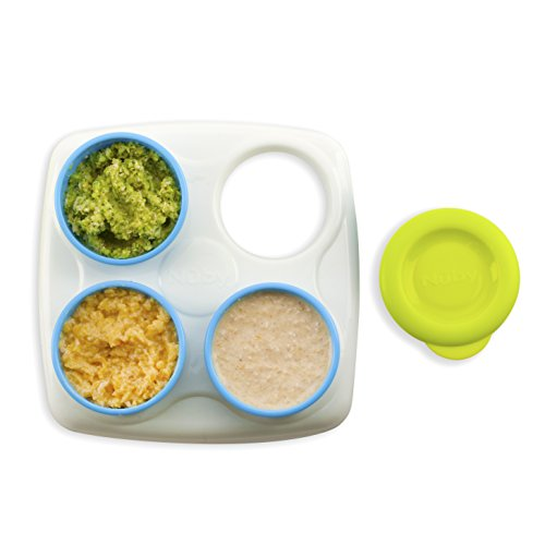 Nuby Garden Fresh Food Storage Freezer Pots with Tray, Colors May Vary ()
