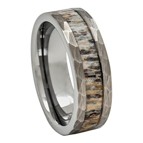 Deer Antler Ring in Tungsten Hammered Finish 8mm Comfort Fit Wedding Band (8)