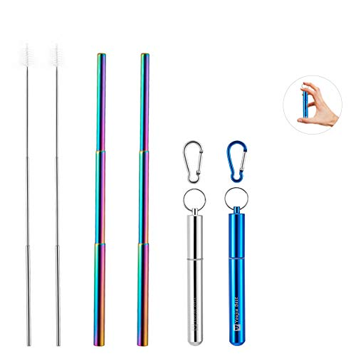 Reusable Collapsible Straw YouJiaBest, 2 Pack Rainbow Telescopic Stainless Steel Metal Straw, with Aluminum Case,Cleaning Brush, Keychain (Silver and Blue)