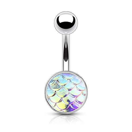 MoBody 14G AB Fish Scales Belly Button Ring 316L Surgical Steel Curved Navel Barbell Body Piercing Jewelry (AB)