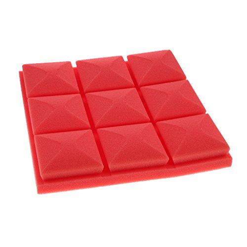 non-brand MagiDeal Esponja De Espuma Absorbente De Sonido De 25cm X 25cm - Rojo