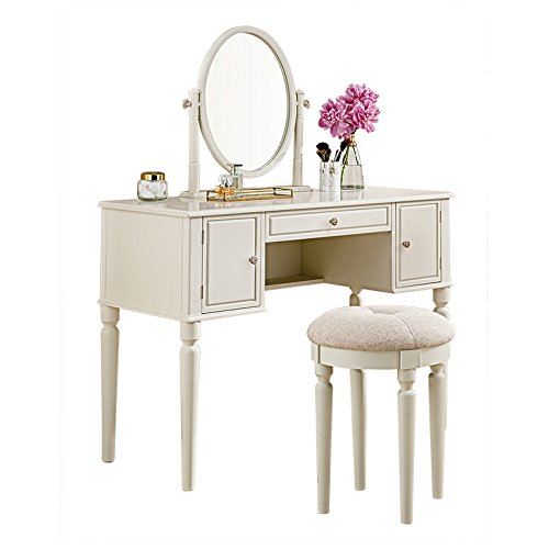 SEESUU Vanity Table Set with Mirror 3 Drawers Makeup Dressing Table with Cushioned Stool Ivory by SEESUU
