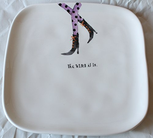 (Rae Dunn Magenta Ceramic Halloween Salad Appetizer Square Plate with Witch Legs Design - The Witch Is)