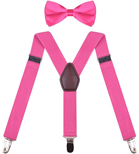 Kid Bow Ties And Suspenders Boys Girls Cute Suspender Shoulder Straps Hot Pink boys 26 Inches (3 yrs - 9 yrs)