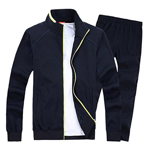 Modern Fantasy Men's Solid Sweatsuit Running Joggers Sports Jacket & Pants Tracksuit Big Navy XL by Modern Fantasy (Image #6)