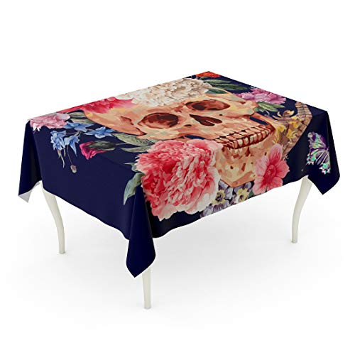 Tinmun Waterproof Tablecloth 52 x 70 Inches Vintage Watercolor Skull and Pink Peony Wildflowers Bouquet Butterfly Decorative Rectangular Tabletop Cover for Outdoor Indoor Use]()