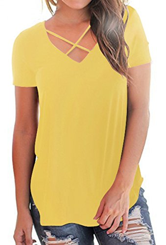 Mysmantic Juniors Chic Casual Tee Shirt with Short Sleeve V Neck Summer Casual T Shirt for Women Yellow XL