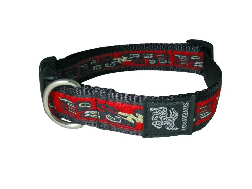 "Adjustable 1"" Silverfoot Dog Collar - Bird Red / 14"" - 21"""