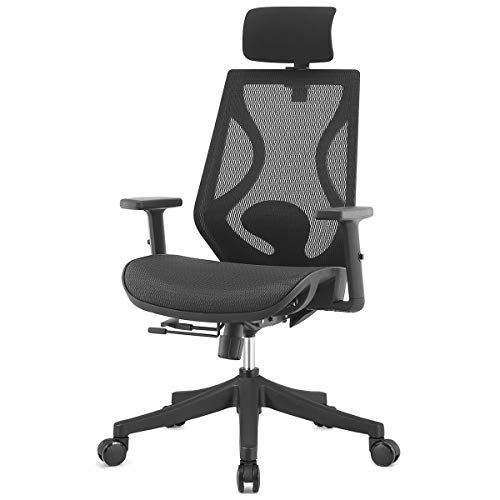 TOPSKY Ergonomic Swivel Task Executive Chair 2D Arm Slide Seat Adjustable Headrest for Home Office Black