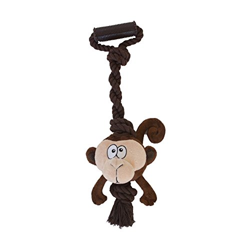 Tuggerz Tug to Squeak Tug-o-War Interactive Plush Dog Toy by Outward Hound, Monkey