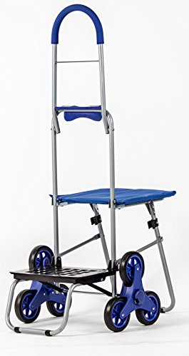 dbest products Stair Climber Mighty Max with Seat Personal Dolly, Blue Handtruck Hardware Garden Utilty Cart