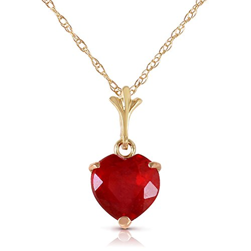 1.45 Carat 14k 18'' Solid Gold Necklace with Natural Heart-shaped Ruby by Galaxy Gold