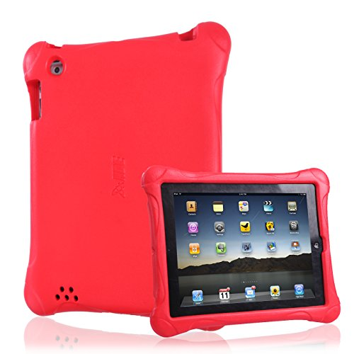 HDE Shockproof Case for iPad 2 3 4 -Graphene Series Shock-Absorption Cover Heavy Duty Bumper Protection for Apple iPad 2nd 3rd 4th Generation Tablets (Red)