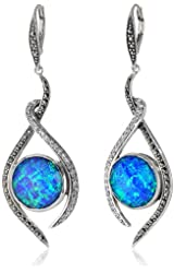 "Judith Jack ""Paradise"" Marcasite Opal Crystal Drama Drop Earrings"