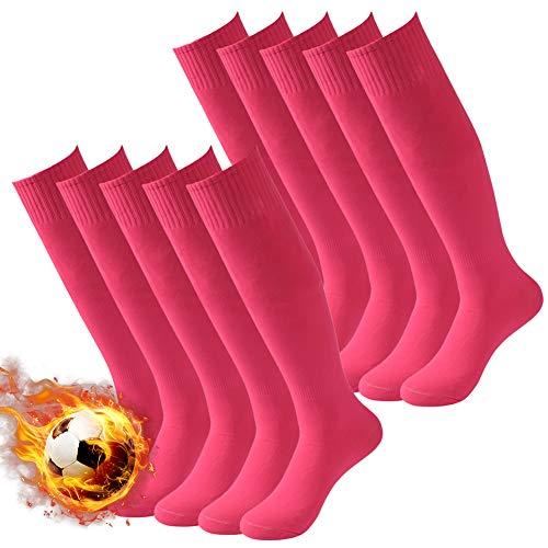 Soccer Socks Pink Three street Unisex Breathable Dri-Fit School Game Long Tube Stockings Sport Football Baseball Socks for Gift 10 Pairs